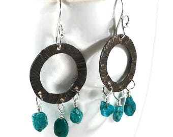 Boho chic copper and turquoise earrings Mixed metal earrings Copper earrings Turquoise earrings Copper and silver earrings