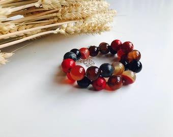 Colourful handmade beaded bracelets from jasper, agate, turkish beads