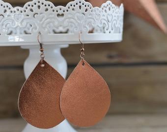 Shiny Copper Teardrop Earrings with copper ear wires