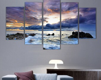 5 Panels Sunset Canvas Art Multi Grouped Art Work Artwork