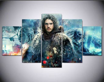 5 Panels Game of Thrones Jon Snow Daenerys Targaryen White Walker Canvas Art Multi Grouped Art Work asoiaf GOT