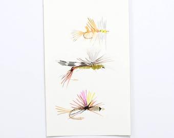 Original Watercolor Fly fishing Flies Painting / Trout Art / fly tying art / trout fishing / fishing art