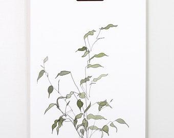 Blind Contour Botanical Watercolor