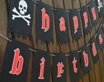 Pirate Banner - Pirate Happy Birthday Banner - Skull Banner - Pirate Birthday - Pirate Party - Pirate Theme Banner - Pirates Banner