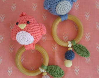 Ready to ship Crochet organic wood teething ring and rattle, bird teething toy