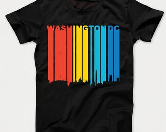 Retro 1970's Style Washington DC Cityscape Downtown Skyline Kids T-Shirt