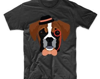 Hipster Boxer Wearing Monocle And Top Hat Funny Dog T-Shirt