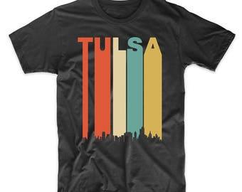 Vintage Retro 1970's Style Tulsa Oklahoma Cityscape Downtown Skyline T-Shirt
