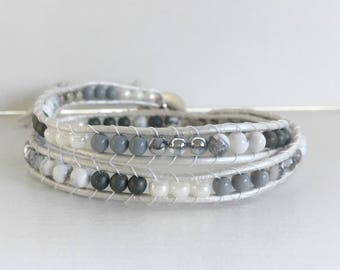 Silver and White Beaded Double Wrap Bracelet with Pearl Leather and Bird in a Tree Button