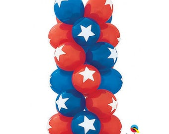 """Star Top Print Latex Balloons 11"""",  Captain America Balloons, Patriotic Balloonsset of 6, star top print balloon blue and Red Set of 6"""