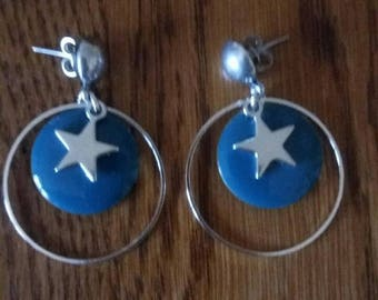 Star and peacock blue sequin earrings