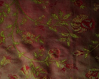 Jacobean Floral Red and Gold Upholstery Fabric