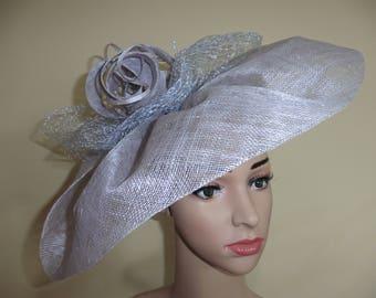 Silver Grey Large Hatinator,Siver Grey Large Fascinator,Siver Grey Wedding Hat,Grey Ascot Hat,Grey Race Hat,Silver Grey Hat,Fascinators