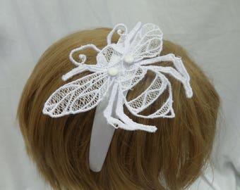 Bumblebee Lace Headband Fascinator -- ONE-OFF