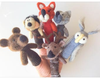 Finger puppets Forest Animals wool / forest animals - 7 animals-wool felted and knitted finger puppets