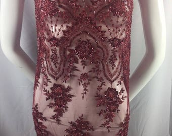 Burgundy Embroidered Beaded Fabric - Lace Heavy Beads For Bridal Veil Flower-Floral Mesh Dress Top Wedding Decoration By The Yard