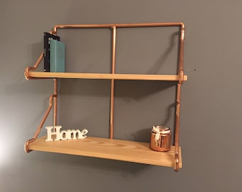 2 Tier Copper Pipe Shelving unit in an Industrial style with pine shelves