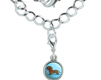 Dachshund Wiener Dog Cartoon Silver Plated Bracelet with Antiqued Charm