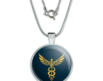 """Caduceus Medical Symbol Doctor Nurse EMT 1"""" Pendant with Sterling Silver Plated Chain"""