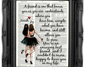 Personalized Best Friend Gift for Best Friend Brunette best friends Friendship Quote Besties Gift Best Friend Birthday Gift Bestie 217