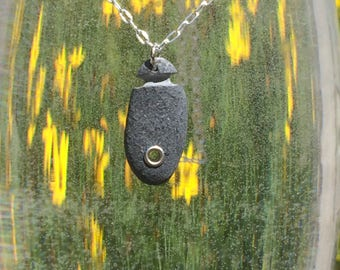 Maine Beach Stone with Rivet