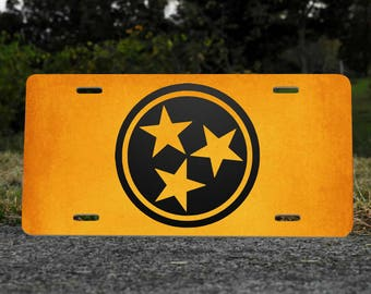 Tennessee  Tri-Star License Plate Choose Orange or Black NEW