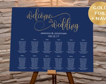Wedding Seating Chart Template - Navy and Gold Wedding - Welcome Wedding Seating Chart Sign Printable - Downloadable wedding #WDHSN8185