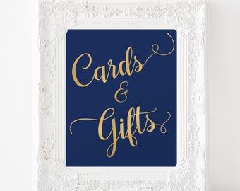 Cards and gifts sign printable - Gold Foil Cards and Gifts - Navy and Gold Wedding Cards and Gifts Sign - instant download wedding signs -