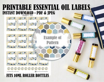 Printable Essential Oil Labels - 10ml Rollerball Labels Bee Hive Pattern