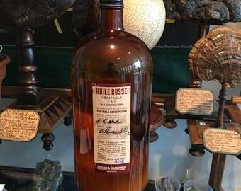 Bottle medical vintage Brown. Medicine against constipation