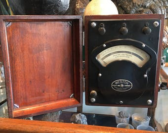 Voltmeter AC and DC Weston model 341 antique wooden box