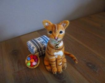 Phoenix - OOAK, artist cat, miniature cat, vintage cat, dollhouse cat, tiny cat,  art cat, teddy cat, Blythe