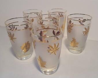 Mid-Century Libbey Gold Leaf  Barware -  14 oz Glasses - Set of 6