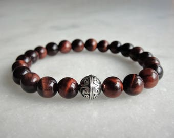 Mens red tigers eye bracelet with sterling silver Bali beads
