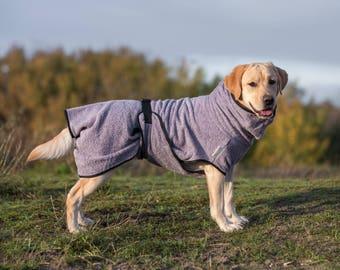 Dog Bathrobe mauve / lilac - Made to Order - Doggy bathrobe