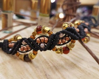 Handcrafted micro macrame bracelet with Chinese lucky coin clasp