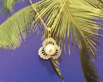 White Pearl Pendant, 14KT Yellow Gold White Round Pearl Pendant/Enhancer W. Diamond, P5076  ,  Made in Hawaii