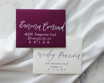 Wedding Envelopes with Calligraphy //  Hand Lettered Wedding Envelopes, Calligraphy Envelopes, Wedding Calligraphy, Pointed Pen Calligraphy