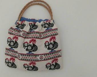 Cute vintage woven portugal handbag, woven bark handle