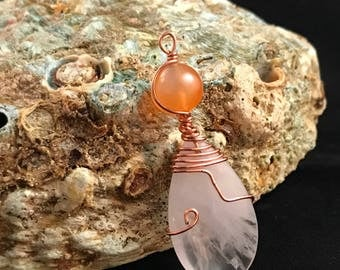 Snow Quartz with Carnelian in Copper/boho/for her/valentine