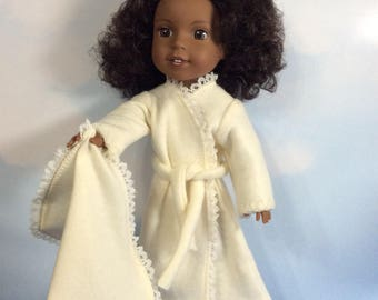 "Cream bathrobe fits 14.5"" Wellie Wishers doll"