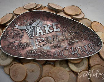Take The Bull By The Horns Graphic Plate - Pewter
