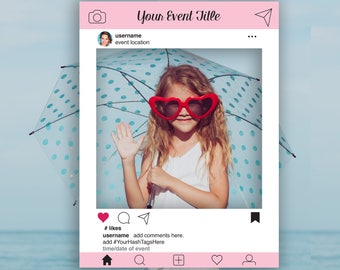 Instagram Editable Photo Prop Frame, Pink Photo Booth Prop, Weddings,Birthday, Baby or Bridal Shower, Template, Instant Download PDF