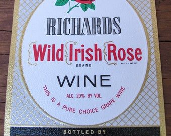 Vintage Embossed Wine Labels - Richards Wild Irish Rose