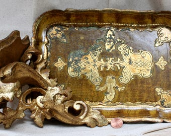 """Free Shipping! Gold Gilt Ornate """"Florentia"""" Shelf 7"""" and Tray Great Condition Vintage"""