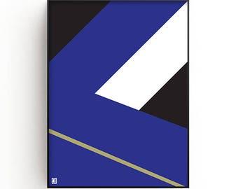Minimalist Wall Art Print, blue, black, white, gold, Modern art, Contemporary art, geometric art, Printable art
