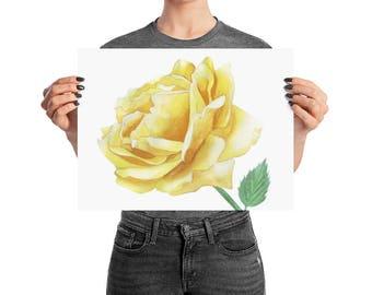 Yellow Rose watercolor painting, Rose decor, flower wall art, garden rose art
