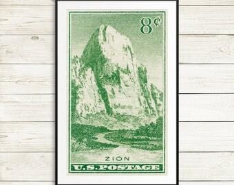 Zion National Park, Zion art, Zion posters, NPS, National Park Service, national park posters, national park prints, Utah, National Parks