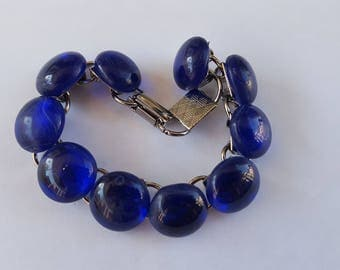"Cobalt Blue Glass ""Pebble"" Bracelet"