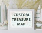 Custom Pirate Treasure Map for Kids, Giclee Print, Nursery Decor, Nautical Theme, Wall Art Print, Personalized Map, Ocean Art